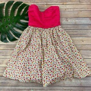 Betsey Johnson strapless pink floral retro dress